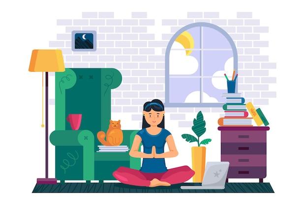 여자 운동과 집에서 요가 명상. 로터스 포즈와 트레이너와 함께 원격 온라인 교육에 앉아 젊은 아가씨. 플랫 만화 일러스트 레이션