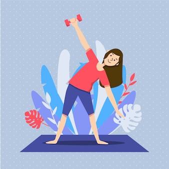 イラストのリビングルームで運動する女性