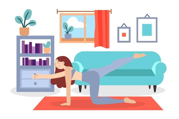 リビングルームで運動している女性