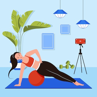 Woman exercising in the living room