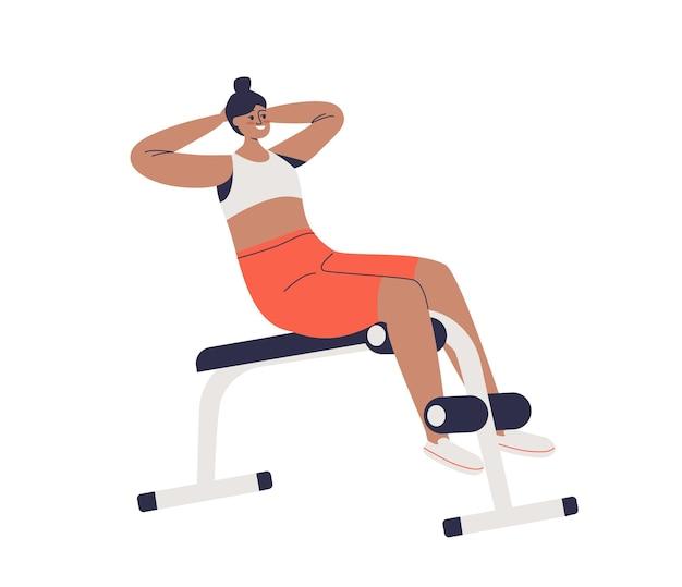 복근 근육 훈련을 위해 철커덕을하고 복부 벤치에서 운동하는 여자. 운동 운동을하는 만화 여성 캐릭터