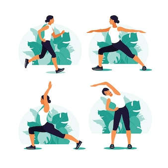 Woman exercising in the park. outdoor sports. healthy lifestyle and fitness concept. vector illustration in flat style.