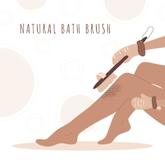 Woman exfoliating legs with dry wooden brush. home body care. skin health.