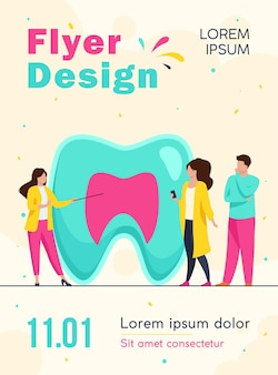 Woman explaining tooth structure to people flyer template