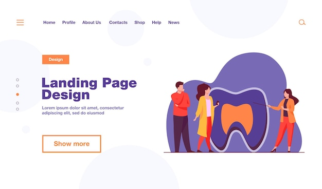 Woman explaining tooth structure to people landing page template