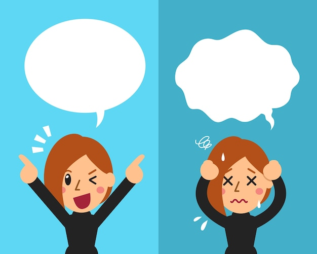 Woman expressing different emotions with speech bubbles