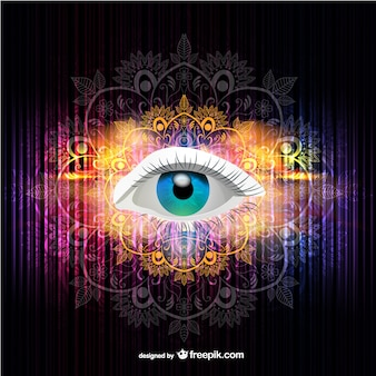 Woman eye with colorful and ornamental background