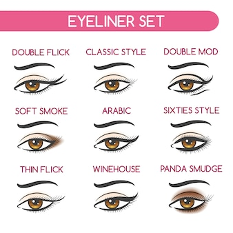 Woman eyes makeup set
