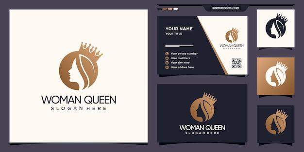 부정적인 공간 개념 및 명함 디자인 여자 얼굴과 왕관 로고 premium 벡터