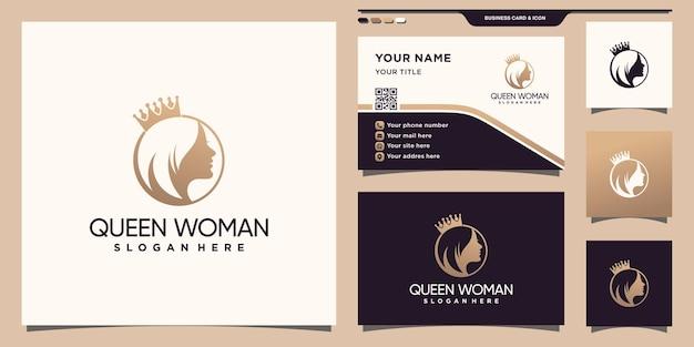 독특한 컨셉과 명함 디자인이 있는 여성 얼굴과 왕관 로고 premium vector