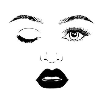 女性の顔。美容コンセプト。まつげと唇。化粧。