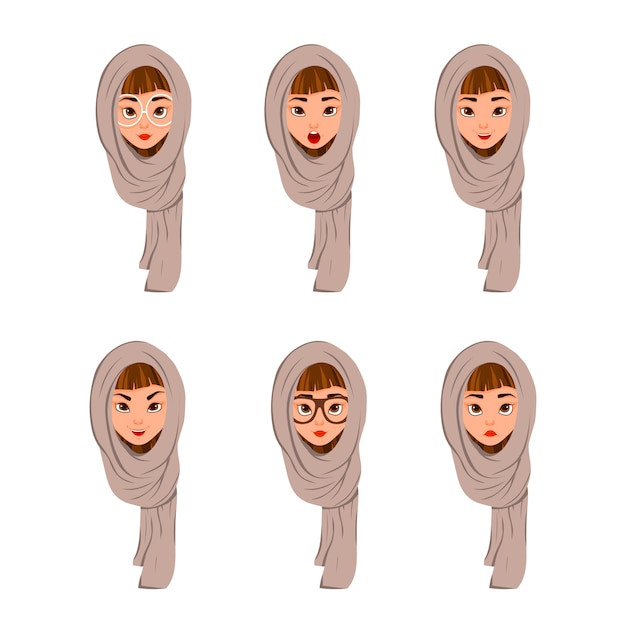 Woman face characters in a scarf with different facial expressions on white