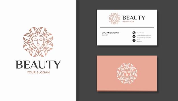 女性の顔と花の美しさのロゴデザインを組み合わせる