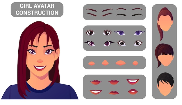 아바타 만들기를위한 여성 얼굴 구성 팩 머리와 머리 스타일, 눈, 코, 입, 눈썹으로 여성 아바타 만들기