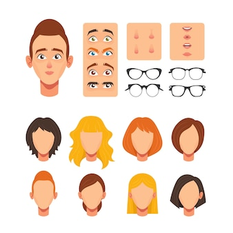 Woman face constructor, facial elements for construction caucasian female character avatar, heads blond, brown and ginger hairstyle, nose, eyes with eyebrows, lips. cartoon vector illustration, set