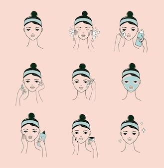 Лицо женщины делает различные процедуры для лица
