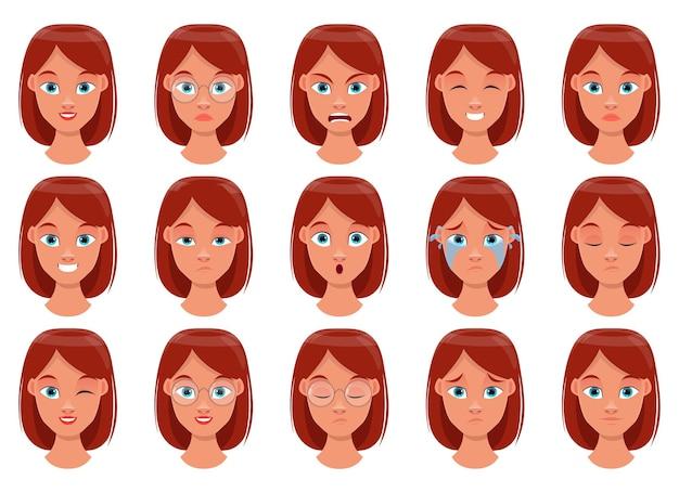 여자 얼굴 표정 디자인 일러스트 절연