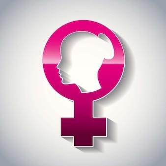 Woman face on female gender symbol