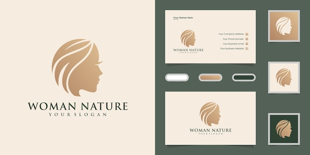 Woman face and hair leaf salon logo and business cad