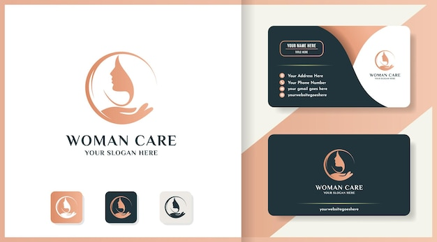 Логотип женского лица вдохновения для красоты, салона и лечения