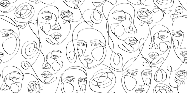 Woman face line art pattern with continuous hand drawn