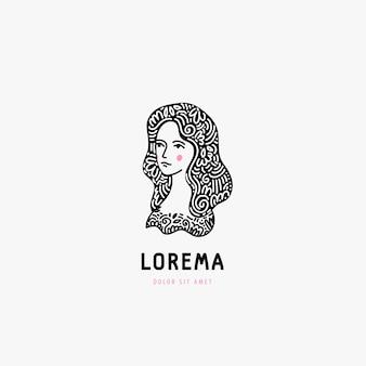 女性の顔のロゴ、黒と白の手描き。飾り付きの髪。