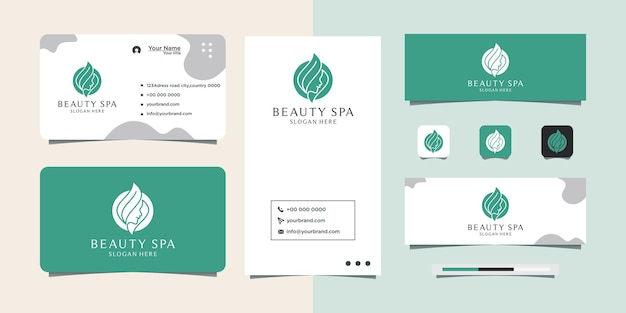 Woman face logo design for cosmetic beauty salon and spa business card