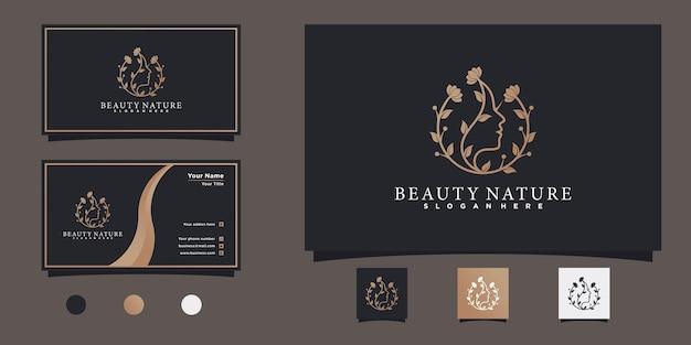 Логотип женского лица с дизайном визитной карточки в современном градиентном цвете для салона красоты premium vecto