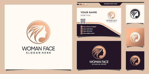Woman face logo with negative space circle concept and business card design premium vector