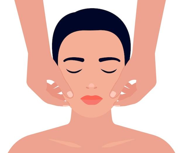 Массаж лица женщины. уход за кожей лица. расслабляющая техника, процедура массажиста. векторная иллюстрация