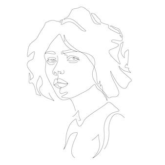 Woman face one line art illustration in minimalist style