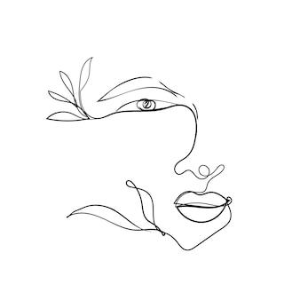 여자 얼굴 한 선 그리기입니다. 뷰티 로고, 카드, 패션 의류 인쇄용 디자인 요소입니다. 눈, 입술, 우아한 모양의 연속적인 윤곽. 여성 초상화입니다.
