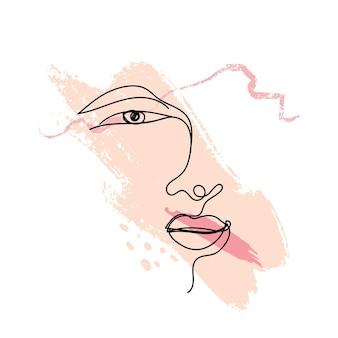 パステルピンクのブラシで描く女性の顔一本線美容ロゴのデザイン要素フェミニンな肖像画