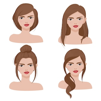Woman face portrait in different hair style collection