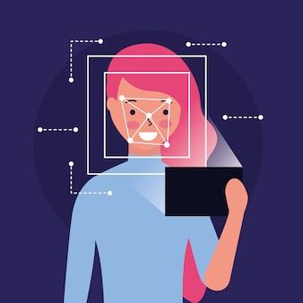 Woman face scan process gadget