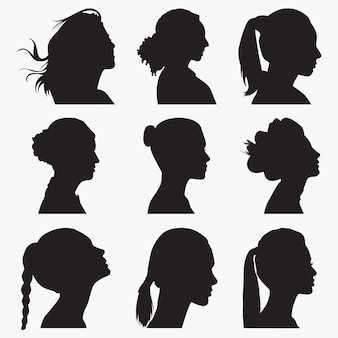 Woman face silhouettes