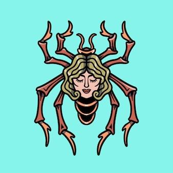 Woman face spider  tattoo illustration
