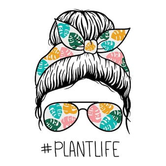 Woman face with aviator glasses bandana and flowers print messy bun mom lifestyleplantlife