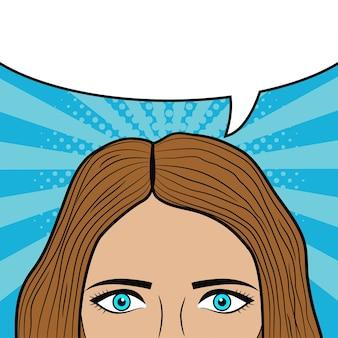 만화책 페이지의 텍스트 소녀 눈과 머리 디자인에 대한 빈 연설 거품이 있는 여자 얼굴