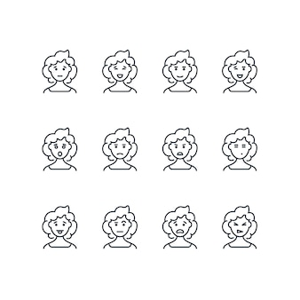 Woman face with different expressions line icons
