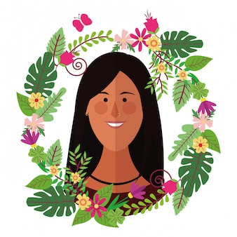 Woman face with floral wreath cartoons colorful