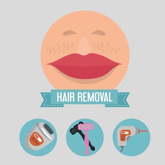Woman face with hair removal elements