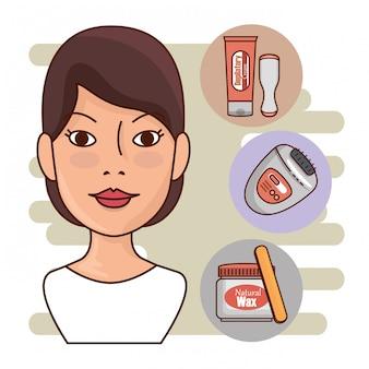 Volto di donna con strumenti di depilazione