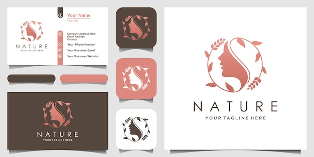 Woman face with leaf style stylized silhouette, beauty salon logo, business card design.