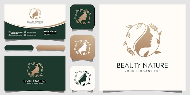 Woman face with leaf style stylized silhouette, beauty salon logo design.