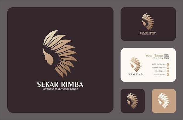 Woman face with leaves logo design in a golden color