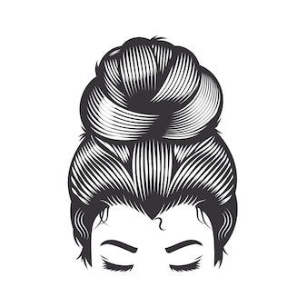 Woman face with messy hair bun and long eyelashes vector line art illustration.