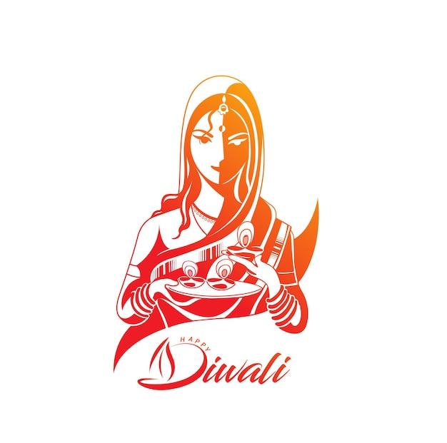 Лицо женщины с дизайном текста языка хинди шубх наваратри.