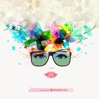 머리에 꽃과 나비와 선글라스와 여자 얼굴