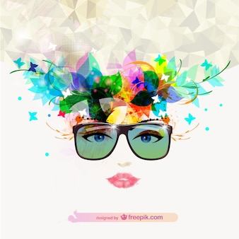 Woman face with sunglasses with flowers and butterflies in the hair